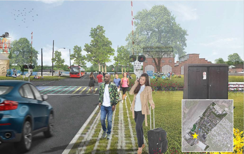 Rendering of streetscape with people